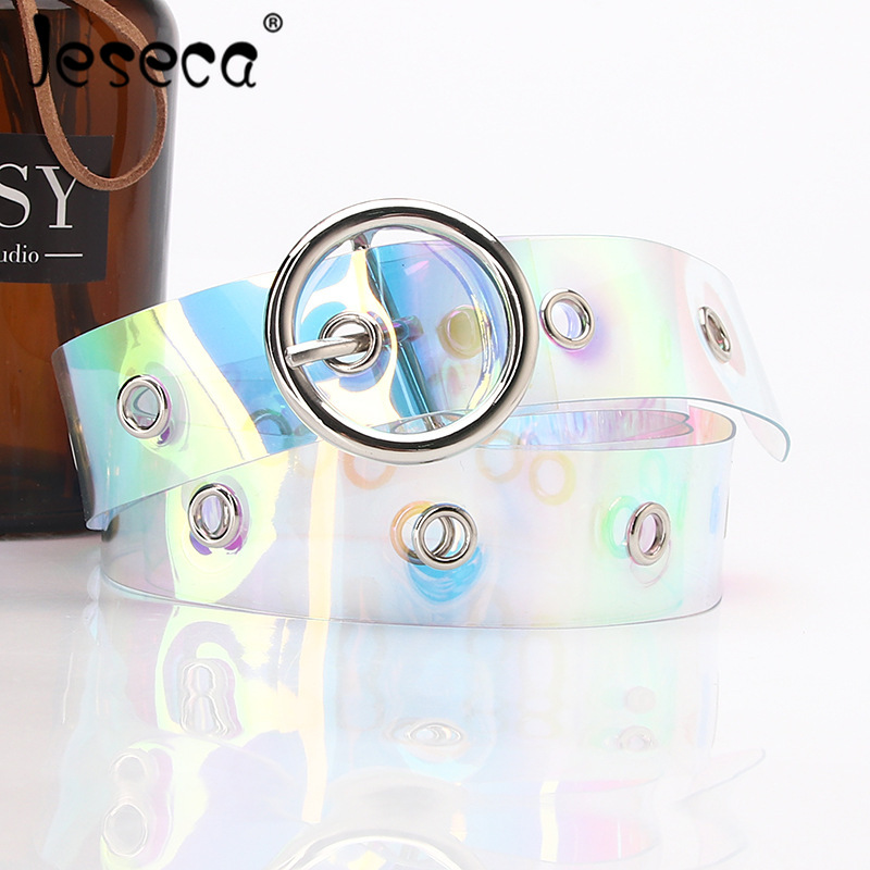 New Women Shinny Lady Colorful Laser Waist Belt Metal Buckle Fashion Student Girl Dress Decoration Transparent Lady Waistband