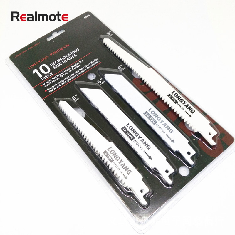 Realmote 10pcs Saw Blades Set Carbide Woodworking Wood Fibreboard Metal Cutting Reciprocating Power Tools Accessories