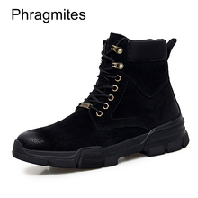 Phragmites Leather Lace-up Shoes Men Sneakers Fashion Couple Women Boots Ankle Breathable Martin Footwear