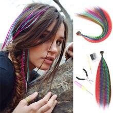 Extensions capillaires synthétiques en plumes, tresse colorée arc-en-ciel pour filles