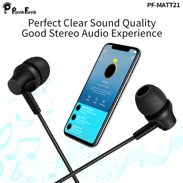 PunnkFunnk Wired Earphones Sport headset 1.2M  In ear  Deep Bass Stereo Earbuds W/Mic For iphone samsung huawei xiaomi vivo oppo 6