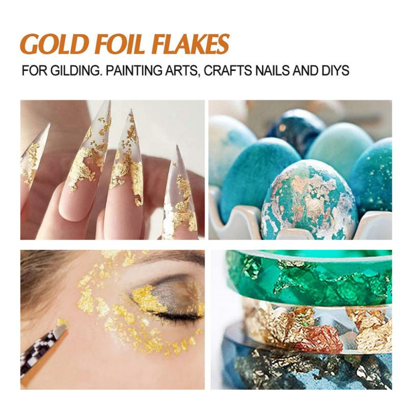 BIPASION Imitation Gold Foil Flakes Metallic Leaf for Nails Crafts Gold Foil Flakes for Resin Gold, Silver, Copper Colors Painting Slime and Resin Jewelry Making with Tweezers
