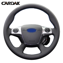 цена на CARDAK Artificial Leather Hand-stitched Car Steering Wheel Cover for Ford Focus 3 2012 2013 2014 KUGA Escape 2013 2014 2015 2016
