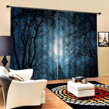 sky 3D Curtain Luxury Blackout Window Curtain Living Room night moon curtains forest curtains blackout curtains