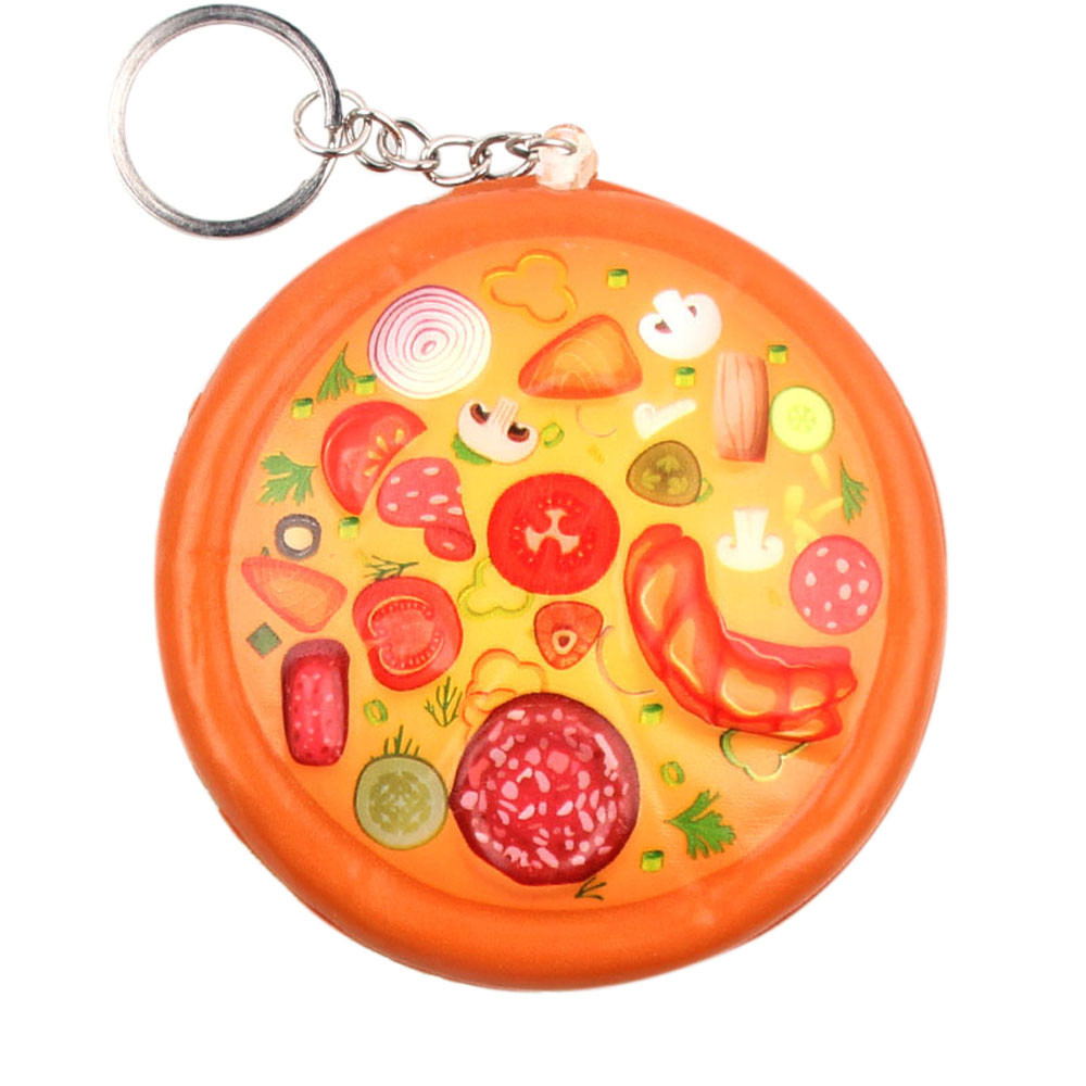 Exquisite Cute Pizza Stress Reliever Keychain Squeeze Soft Slow Rising Decompression Toy Simulation Food Key Chains #A