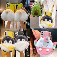 Simpatica borsa a portafoglio unicorno in pelliccia di peluche per iPhone 8 7 6 6S Plus 5 5s SE 2020 custodia Avocado Corgi cane pinguino portamonete copertura corda