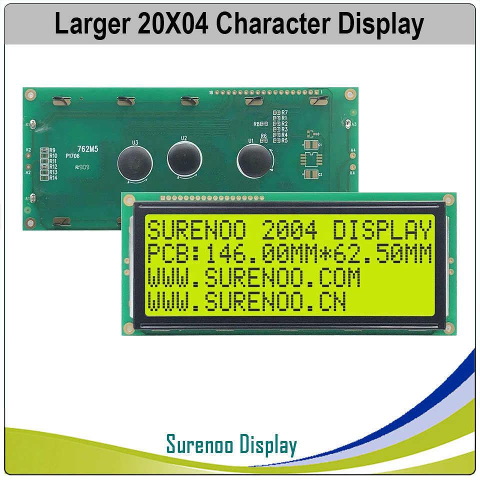 أكبر 204 20X4 2004 شخصية وحدة عرض LCD شاشة LCM أزرق أصفر أخضر مع إضاءة خلفية LED