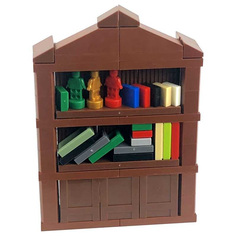 Legoing Bookrack City Series Gift Building Parts Toys Kid Birthday DIY Bricks Brown Figures MOC Books Legoings Cities Model Kits