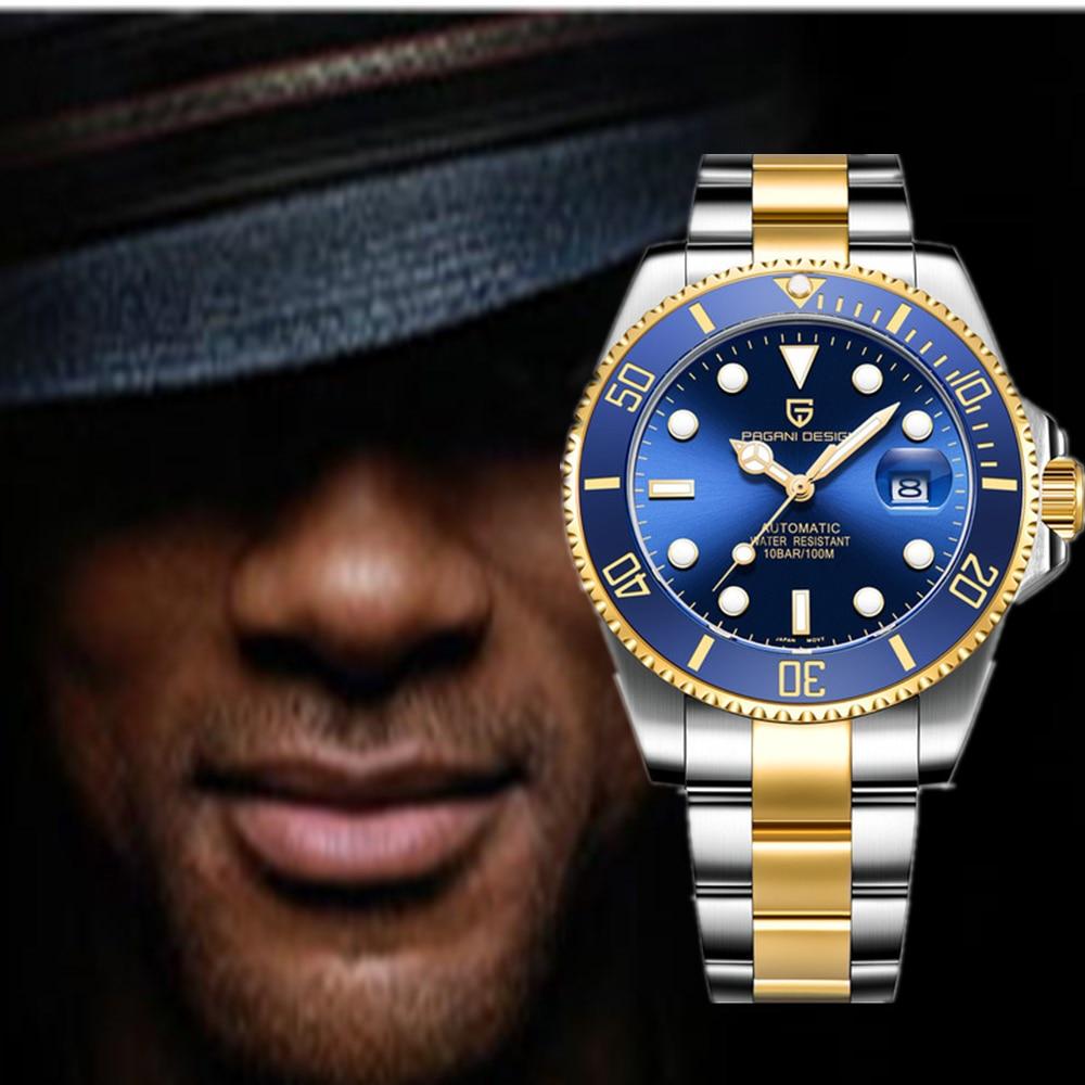 PAGANI DESIGN Classic Luxury Blue Dial Men Automatic Watches Waterproof Mechanical Submersible NH35A Watch Relogio Masculino+Box