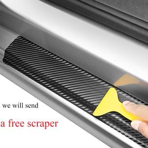 Image 5 - Car Door Plate Stickers For Kia Picanto Carbon Fiber Look Car Sticker Door Sill Scuff Cover Anti Scratch Decal Car Accessories