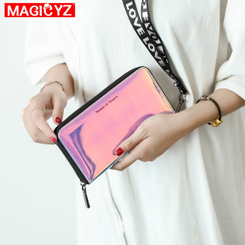 Laser Wallet Female Long Section Small Fresh Korean Version Of The Simple Personality Large Capacity Student Zipper Wallet