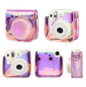 Image 5 - كاميرا Fujifilm Instax Mini 9 8 حافظة حقيبة شفافة مجسمة ليزر كاميرا فورية حزام الكتف حقيبة حامي غطاء الحقيبة