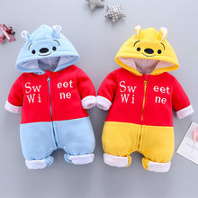 Infant clothing autumn and winter new children's cartoon style one-piece clothes bear baby harem style clothes newborn warm romp