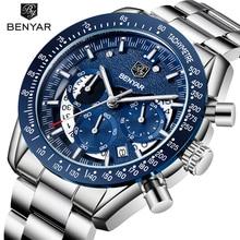 BENYAR męski zegarek luksusowej marki wojskowe zegarki kwarcowe mężczyźni biznes skórzany zegarek wodoodporny mężczyźni zegar Relogio Masculino