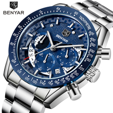 Часы наручные BENYAR Мужские кварцевые, роскошные брендовые военные деловые водонепроницаемые с кожаным ремешком