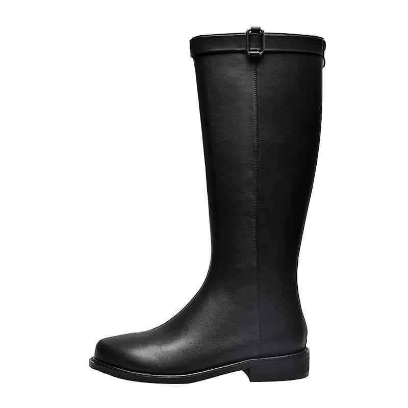 Moda inek deri yuvarlak ayak med topuklar kadın diz yüksek çizmeler toka zarif elbise uyluk yüksek çizmeler bayan sıcak kış ayakkabı L03