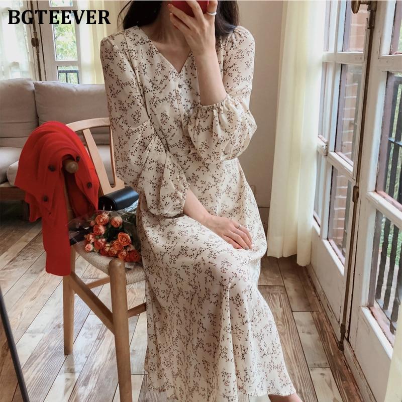 BGTEEVER Vintage V-neck Buttons Lace-up Female Chiffon Dress Full Sleeve Midi Dress Elegant Casual Floral Print Women Dress 2020