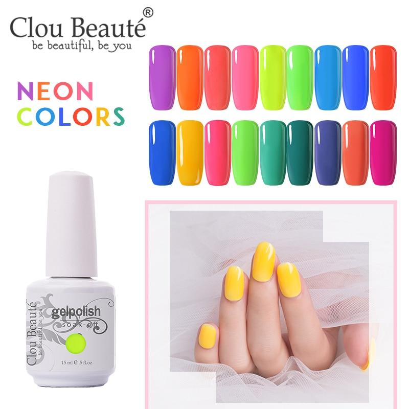 Clou Beaute Summer Neon Colors Gel Nail Polish Nail Color Nail Gel Varnish Lakiery Hybrydowe Gellak 15ml Gel Nail Polish Set