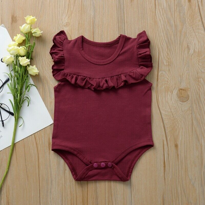 CANIS Summer Newborn Infant Baby Girls Sleeveless Solid Color Ruffles Bodysuit Playsuit Jumpsuit Outfits Set