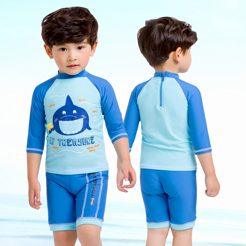 New Style Small Children Cartoon Mouth Fish Cute BOY'S Split Type Hot Springs Diving Suit Swimwear Three-piece Set-KID'S Swimwea