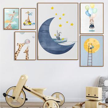Streszczenie Baby Giraffe Bubble królik ściana z balonami plakat artystyczny i druk Moon Star drabina płótno malarstwo przedszkole Kids Room Decor tanie i dobre opinie CN (pochodzenie) Wydruki na płótnie Zestaw trzech obrazów PŁÓTNO Wodoodporny tusz Krajobraz bez ramki Nowoczesne Malowanie natryskowe