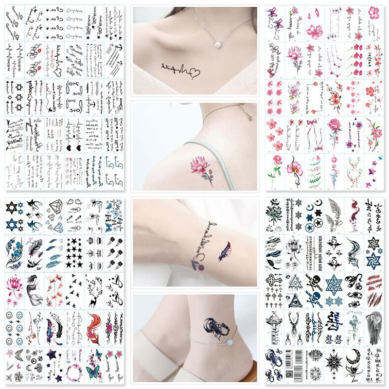 30Pcs/Set No Repeat Temporary Tattoo Stickers Waterproof Tattoos For Women Sexy Arm Clavicle Body Art Hand Foot for Girl Men