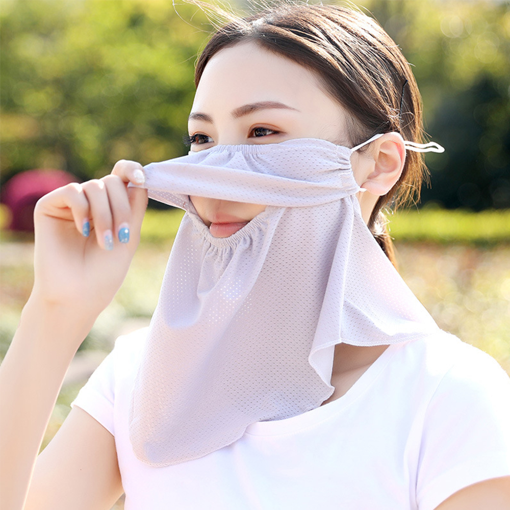 Summer Breathable Openning Sunscreen Face Cover Women Anti-UV Outdoor Ridding Cycling Windproof Dust-Proof Neck Scarves