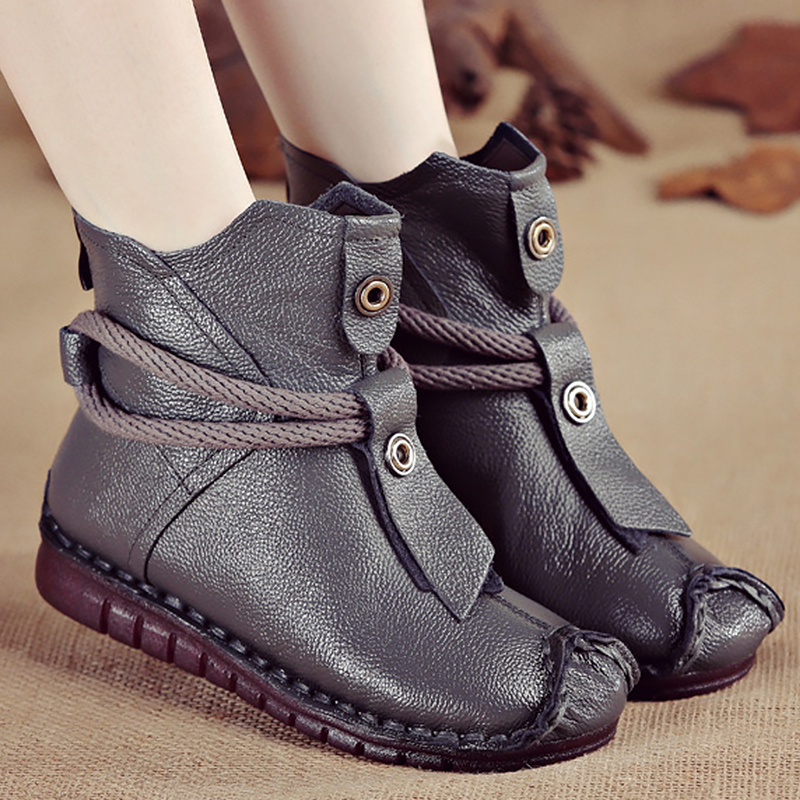 Women's Boots Genuine Leather Zipper Comfortable Ankle Boots For Women Rubber Solid Non Slip Winter Shoes Women Plush 17