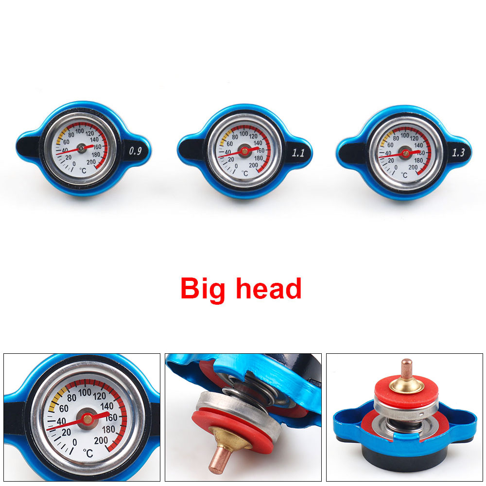 Racing Small Size Thermost Radiator Cap COVER + Water Temp gauge 0.9BAR or 1.1BAR or 1.3 BAR Cover No logo(Big head)