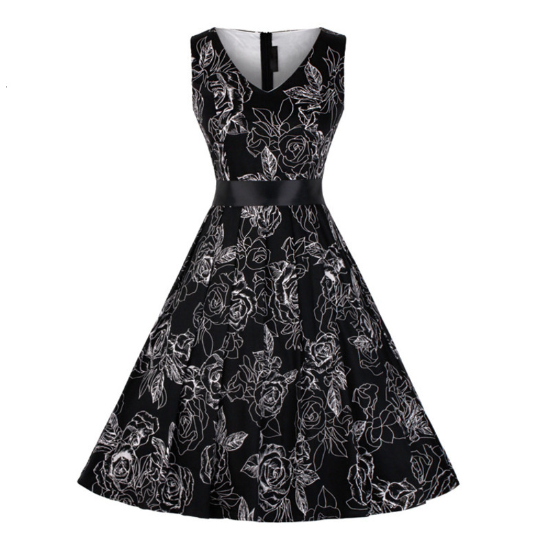 JIEZuoFang 3XL plus size <font><b>dresses</b></font> black Summer Women <font><b>vintage</b></font> <font><b>1950s</b></font> <font><b>60s</b></font> flower print sleeveless elegant knee-length Party <font><b>Dress</b></font> image