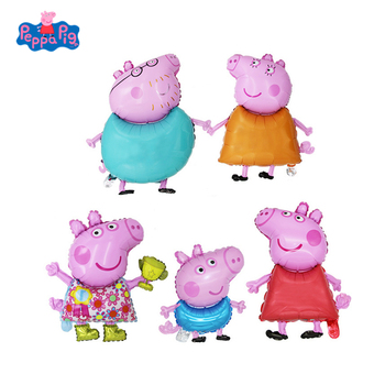 5Pcs/set Peppa Pig Children Balloon Toy Birthday Party Decoration Toys Cartoon Pink Anime Figure Family Kid Gift
