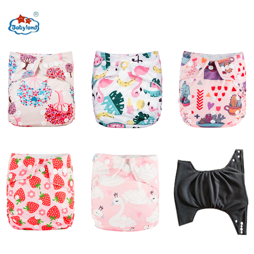 12pcs/lot Babyland Bamboo Charcoal Diaper Covers Bamboo Carbon Nappy Washable Reusable Antibacterial Diapers For 3-15kg Baby