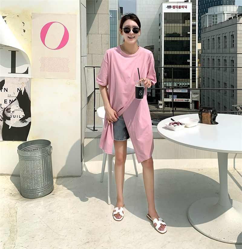 한국 스타일 분할 t 셔츠 여성 솔리드 코튼 여성 티셔츠 새로운 패션 느슨한 롱 탑스 여름 화이트 핑크 M-XL