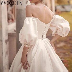 Image 5 - VINTAGE 2019 ชุดซาตินชุดเจ้าสาวปิดไหล่แขนยาวมือประดับด้วยลูกปัดชุด Robe de mariage