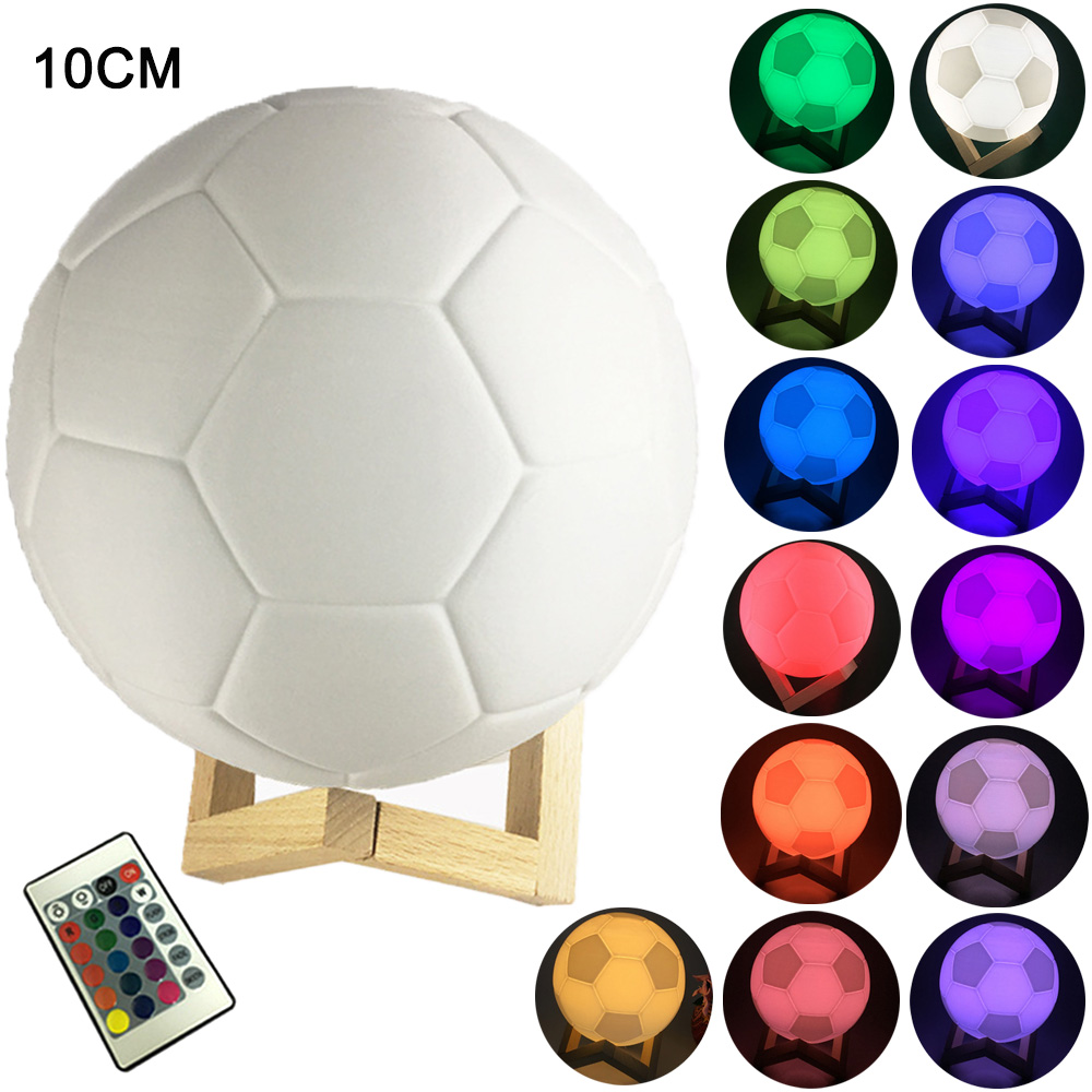 Night Light Touch/Remote Control 16 Colors Changeable 3D Printing Soccer Design LED Table Lamp Football Night Lamp Boys Gifts