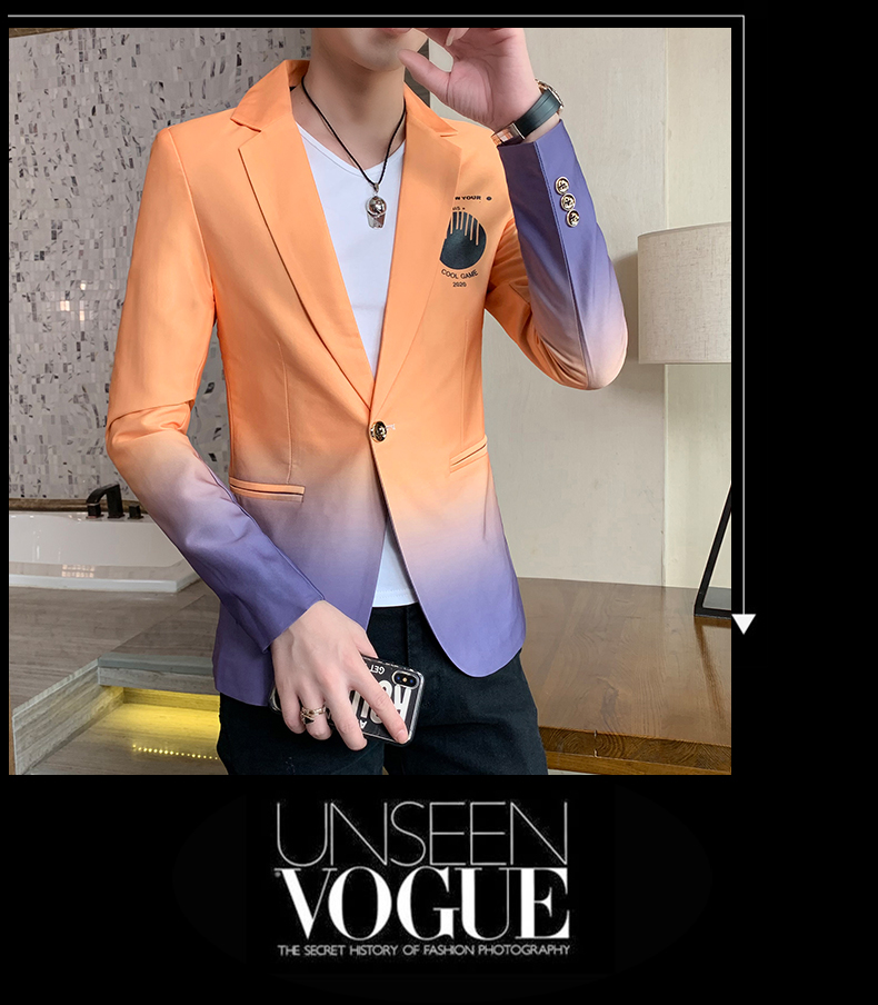 H34f21666d41548368678b8b4ef99ceccD - Male Gradient Blazer Masculino 2020 Spring Autumn Korean Style Blazer For Men Suit Jacket Casual Wedding Business Clothing