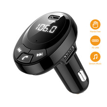 Bluetooth 5.0 Car Kit Wireless FM Transmitter Handsfree Music Playing Dual USB Car Charger PD 18W Fast Charging(China)