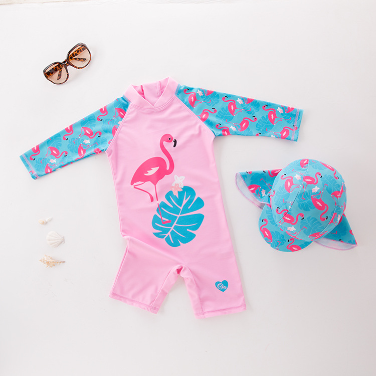 Girl'S One-piece Swimming Suit Long-sleeved Pink Swan With Hat-Children Hot Springs Bathing Suit