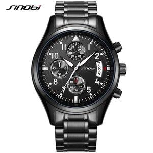 Image 1 - SINOBI lüks erkekler su geçirmez paslanmaz çelik Pilot bilek saatler Chronograph tarih spor dalgıç ışık Quartz saat Montre Homme