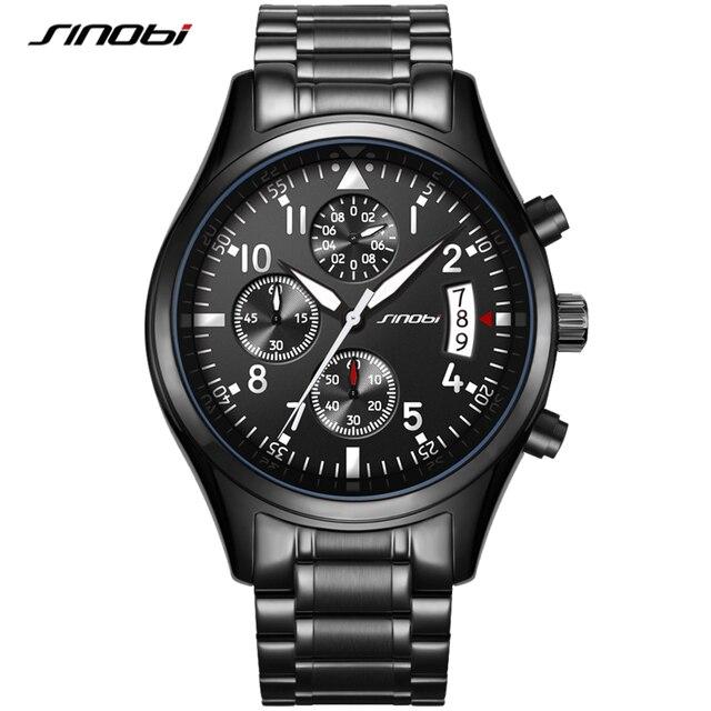 SINOBI lüks erkekler su geçirmez paslanmaz çelik Pilot bilek saatler Chronograph tarih spor dalgıç ışık Quartz saat Montre Homme