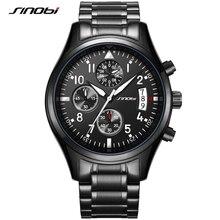SINOBI luksusowe mężczyźni wodoodporna stal nierdzewna Pilot zegarki Chronograph data Sport Diver podświetlany zegarek kwarcowy Montre Homme
