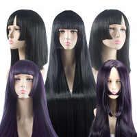 Onmyoji Cosplay Peluca de pelo largo recto negro y púrpura sintético peluca para mujer Qi bang fiesta de Navidad de fibras de alta temperatura