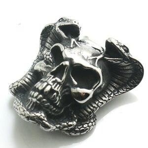 Кулон в виде змеи с большим черепом из нержавеющей стали 316L