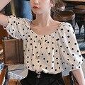 Женские блузки с короткими рукавами, с узором в горошек, верхняя одежда рубашки с буффами на рукавах с квадратным вырезом верхняя женская од...