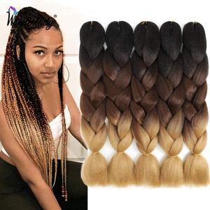WonderLady High Temperature Fiber Ombre Kanekalon Jumbo Braid Synthetic Braiding Hair Extensions 24inch 100g Crochet Braids Hair