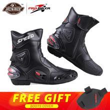 PRO-BIKER/скоростные ботильоны с защитным механизмом; ботинки в байкерском стиле; обувь в байкерском стиле для езды на мотоцикле; гоночные ботинки для мотокросса; цвет черный, красный, белый
