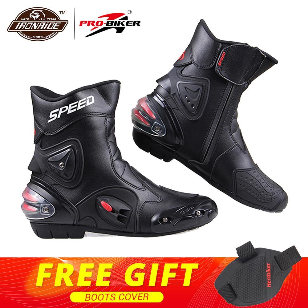 PRO BIKER/скоростные ботильоны с защитным механизмом; ботинки в байкерском стиле; обувь в байкерском стиле для езды на мотоцикле; гоночные ботинки для мотокросса; цвет черный, красный, белый