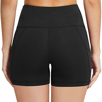 Womens Splice High Waist Shorts Leggings With Side Pockets High Waist Push Up Skinny Elastic Short Solid Color Bike Bottoms