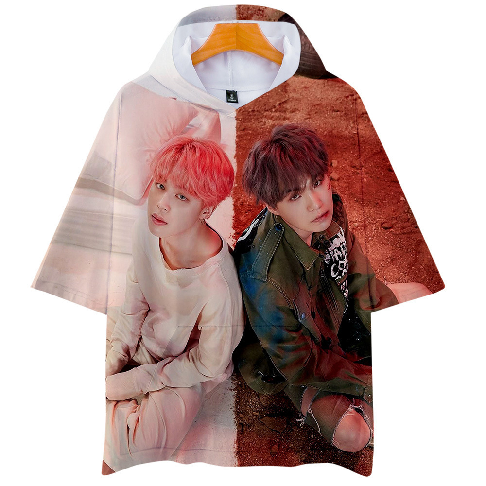 Harajuku Streetwear 3D Kpop Hooded Shirts Men/women Short Sleeve Kawaii K-pop Clothes Female Hip Hop Hoodie Tops Dropship