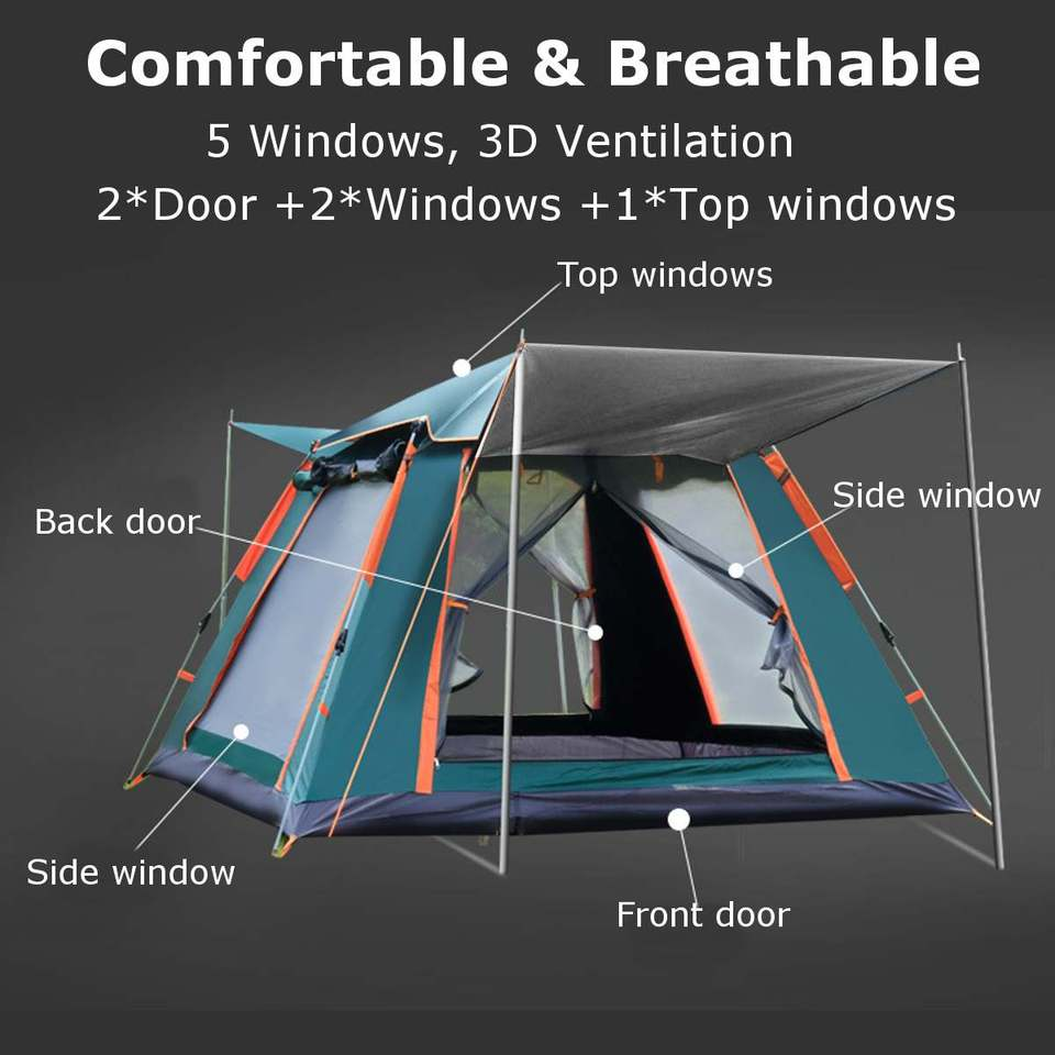 Open Tent Throwing pop-up Tent Outdoor Camping Hiking Automatic Season Tent Speed Open Family Beach Large Space can accommodate 3-4